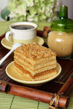 Cake with coffee. On a wooden tray Royalty Free Stock Photography