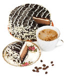 Cake and Coffee. Chocolate cake and coffee over white stock image