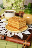Cake with coffee for breakfast. On a wooden tray Royalty Free Stock Image
