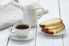Cake with coffee cup Stock Photos