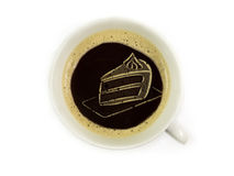 Cake in coffee foam Royalty Free Stock Images