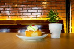 Cake in a coffee shop.  royalty free stock photos