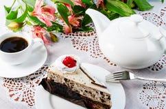 Cake coffee teapot Royalty Free Stock Photo