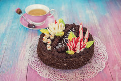 Cake on color background Royalty Free Stock Image
