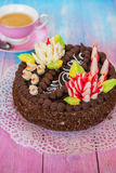Cake on color background Stock Image