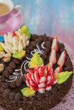 Cake on color background Stock Photo