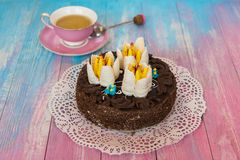 Cake on color background Stock Images