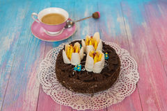 Cake on color background Stock Photos