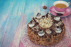 Cake on color background Royalty Free Stock Photo