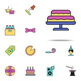 cake colored icon. birthday icons universal set for web and mobile stock illustration