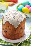 Cake and colorful eggs for Easter Royalty Free Stock Image
