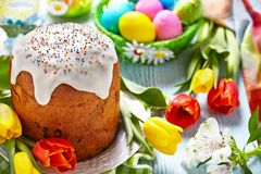 Cake and colorful eggs for Easter Royalty Free Stock Photo