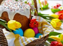 Cake and colorful eggs for Easter Royalty Free Stock Photography