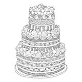 Cake for coloring book. Hand drawn doodle cake with berries for coloring book for adults. Zentangle style stock illustration