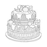 Cake for coloring book. Hand drawn doodle cake with berries for coloring book for adults. Zentangle style Royalty Free Stock Photo