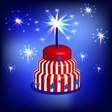 Cake in the colors of the American flag. 3d cake in the colors of the American flag, red, white and blue. With starts and firework Stock Images
