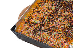 Cake with cooked apricots and chocolate crumbs Royalty Free Stock Photos