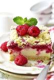Cake with cottage cheese,raspberry and streusel. Royalty Free Stock Images