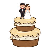 Cake with couple just married character Royalty Free Stock Photo