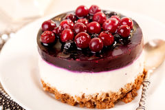 Cake with cranberry jelly cream round shape berries closeup Stock Photos
