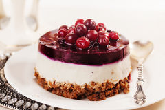Cake with cranberry jelly cream round shape berries closeup Stock Photo