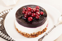 Cake with cranberry jelly cream round shape berries closeup Royalty Free Stock Photo