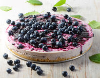 Cake with cream cheese and  blueberries Royalty Free Stock Photos