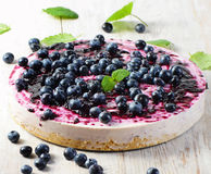 Cake with cream cheese and  blueberries Stock Photography