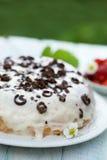 Cake with cream and chocolate Stock Photos