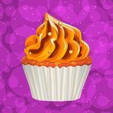 Cake with cream on a colorful background. Vector. Stock Photo