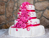 Cake with cream flowers Stock Images