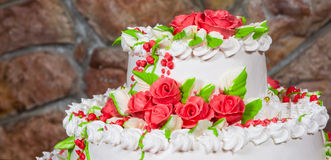 Cake with cream flowers Stock Image