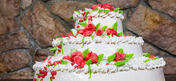 Cake with cream flowers Royalty Free Stock Photography