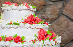 Cake with cream flowers Stock Photography