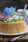 Cake with cream flowers from close up. Stock Photos