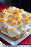 Cake with cream and fruit Stock Photography