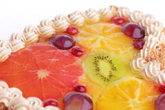 Cake with cream garnished with fruits in jelly iso Royalty Free Stock Photo