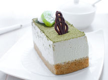 Cake with cream and green tea flavor Stock Photos