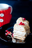 Cake with cream and jam filling, Royalty Free Stock Photo