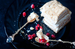 Cake with cream and jam filling, Royalty Free Stock Photos