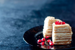 Cake with cream and jam filling,. Victoria sponge cake with cream and jam filling, served with raspberries Royalty Free Stock Photography