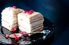Cake with cream and jam filling,. Victoria sponge cake with cream and jam filling, served with raspberries Stock Photo