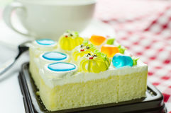 Cake with cream and jelly topping Royalty Free Stock Images