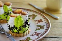 Cake with cream mushroom Royalty Free Stock Image