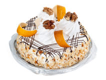 Cake with cream and nuts Royalty Free Stock Image