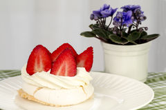 Cake with cream and strawberries Stock Photo