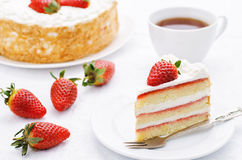 Cake with cream and strawberries Stock Photo