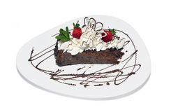 Cake with cream. And strawberry Royalty Free Stock Image