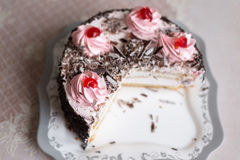 Cake with creamy flowers on  large plate Royalty Free Stock Photos