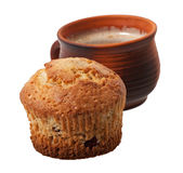 Cake and a cup of cappuccino Royalty Free Stock Photo
